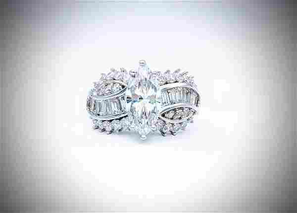 925 SS Sz 7 Brilliant Marquise Cut Cubic Zirconia Ring