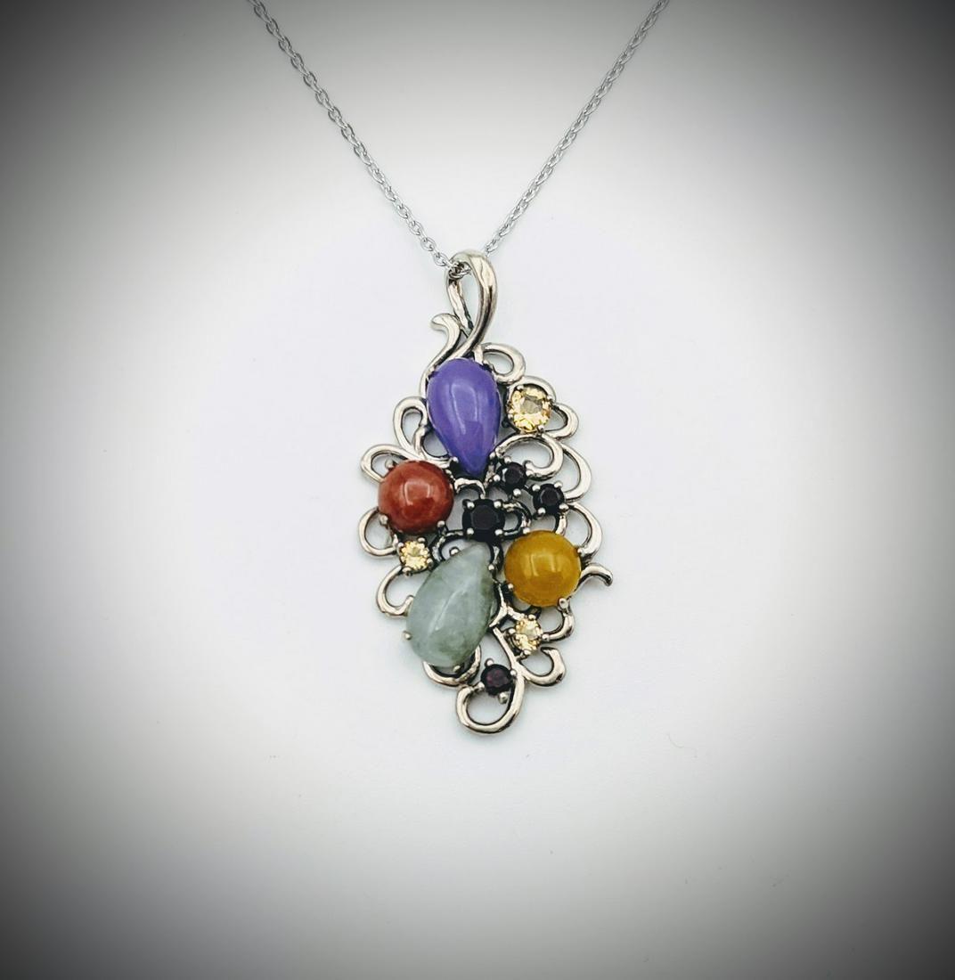Necklace & Pendant w Jasper, Jade, Violet Jade, Yellow