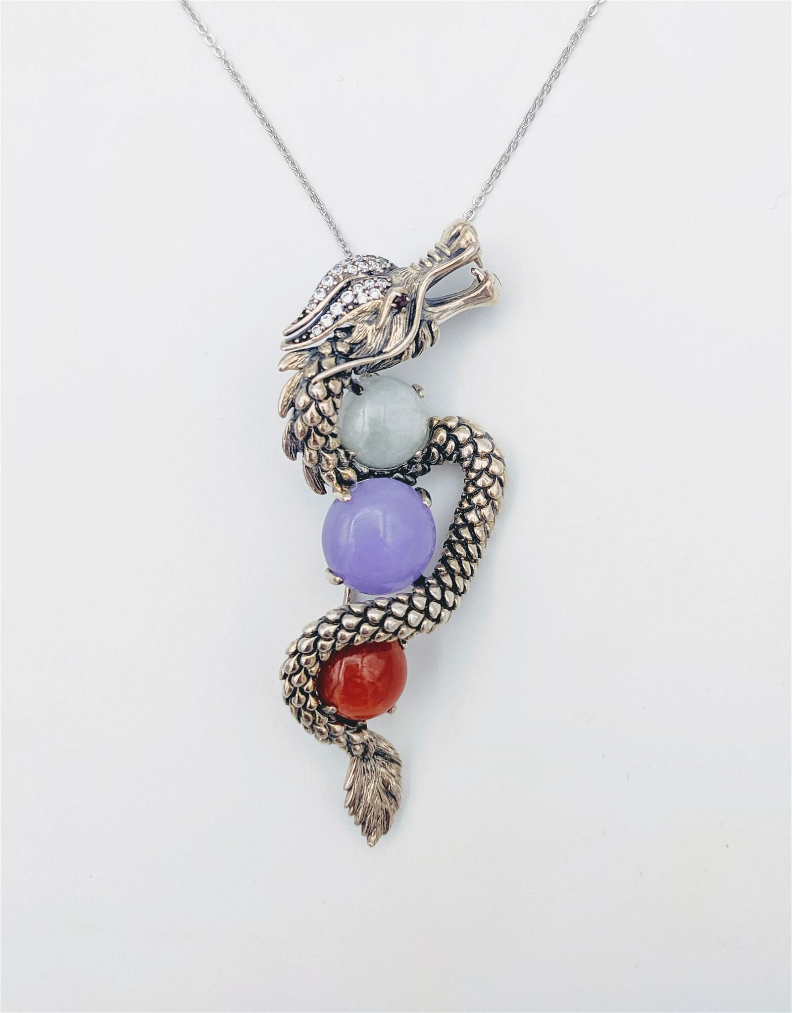 Sterling Silver Necklace w Dragon Brooch-Pendant w