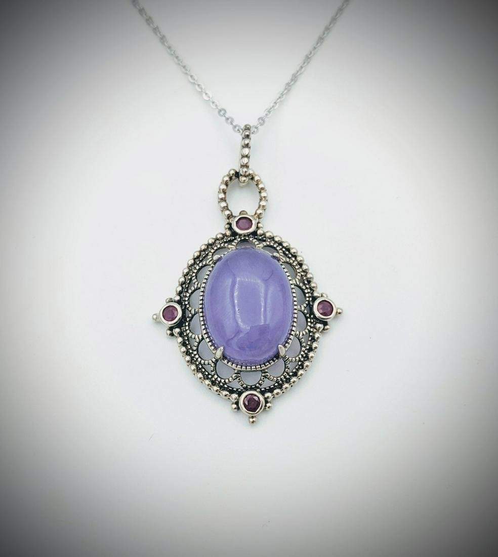 Sterling Silver Necklace w Raw Rubies & Violet Jade