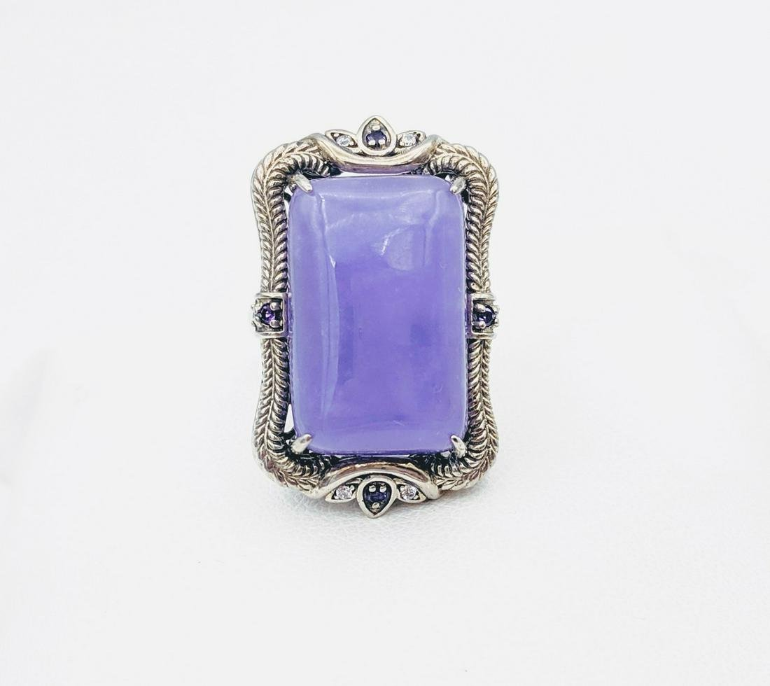 Sterling Silver Sz 7 Violet Jade Cocktail Ring w