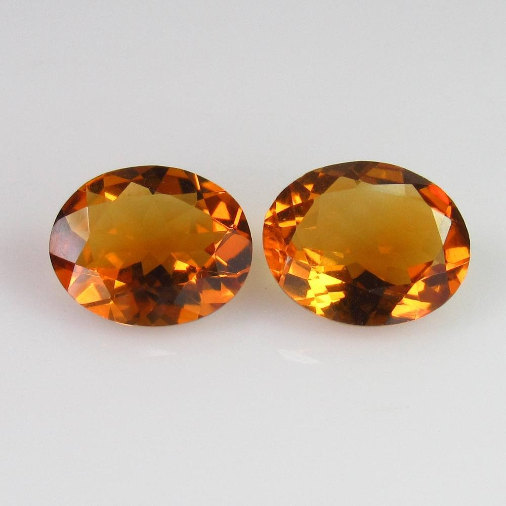 4.46 Ct Genuine Whisky Yellow Citrine Oval Pair