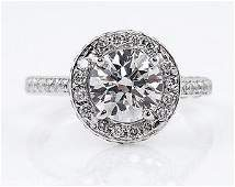 GIA 1.55ct Estate Vintage Round Diamond Halo Engagement