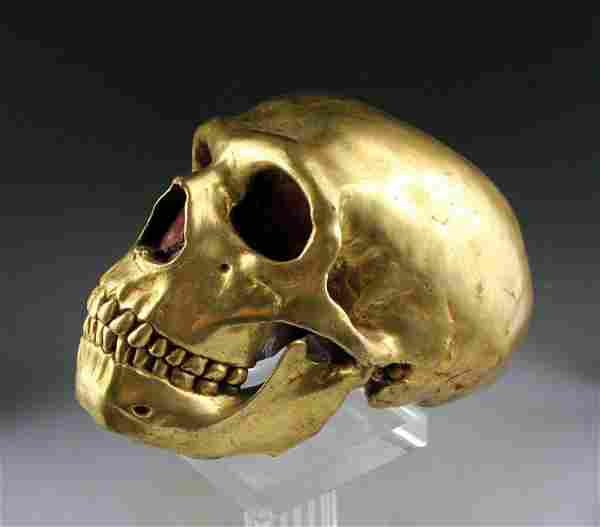 Rare life-size Sino-Tibetan gilt bronze model of a