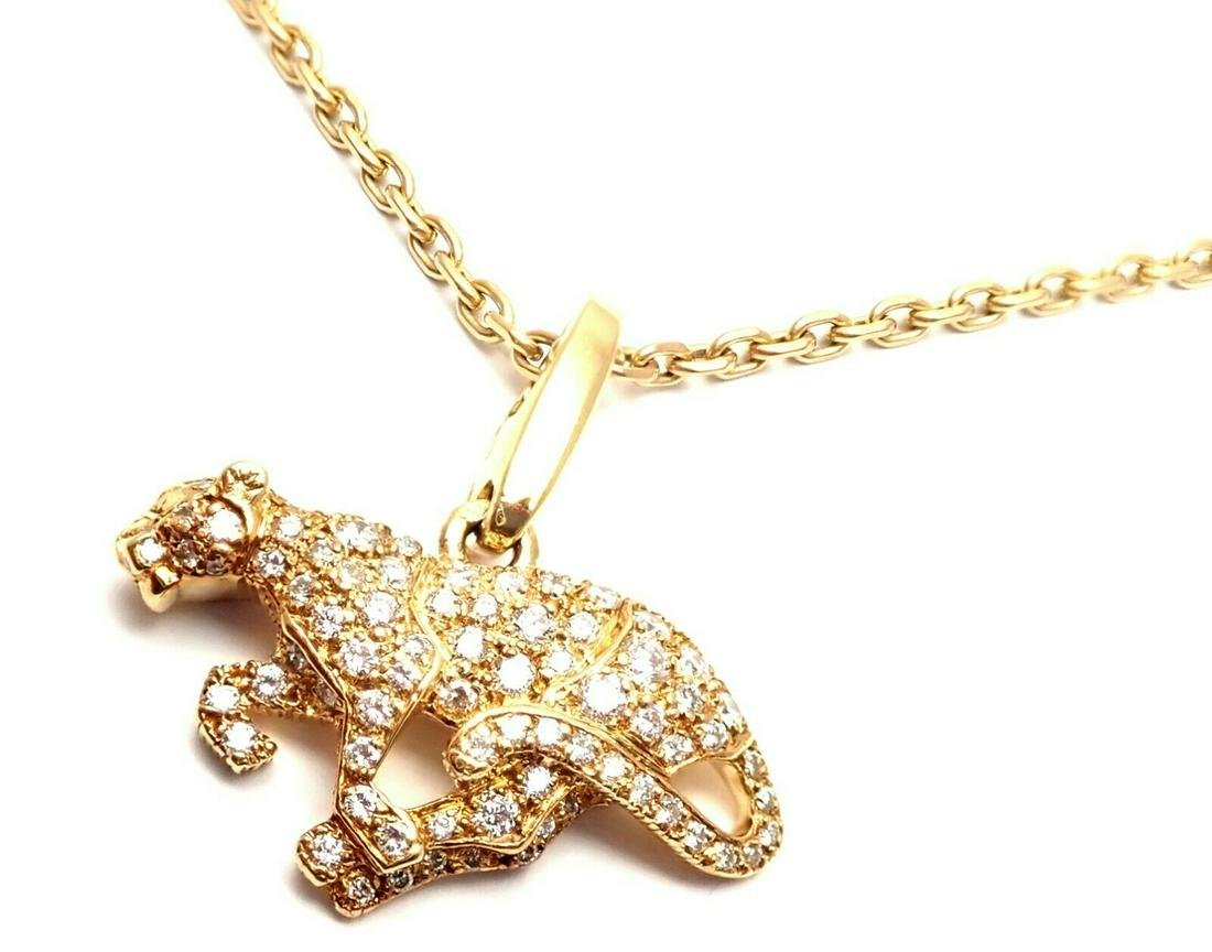 Authentic! Cartier Panther 18k Yellow Gold Diamond