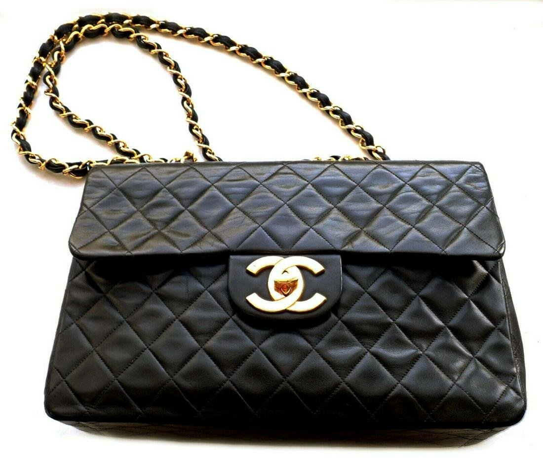 Authentic! 1996 Chanel Jumbo Black Quilted Lambskin