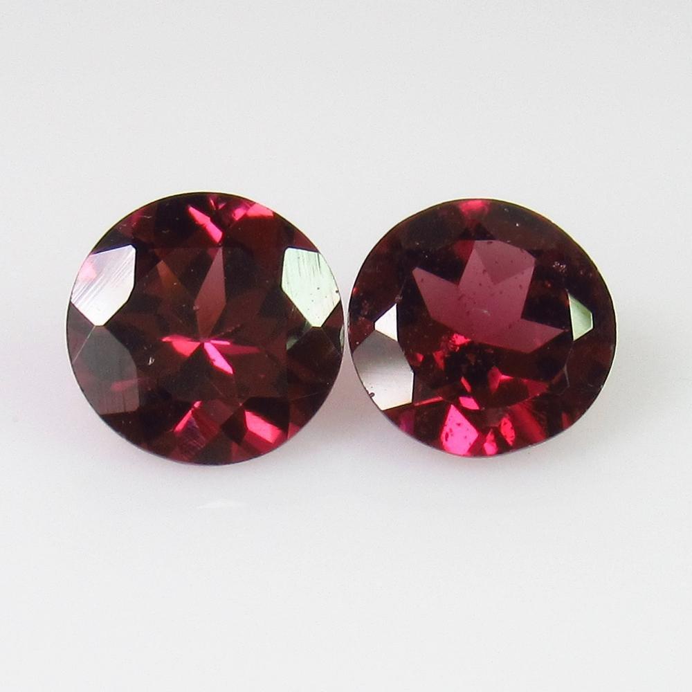 1.80 Ctw Natural Pink Rhodolite Garnet 6 mm Round Pair