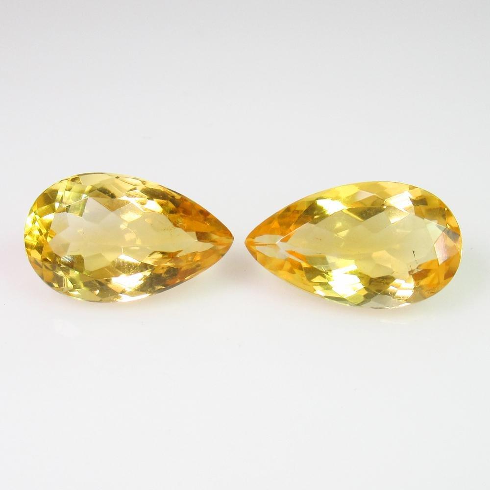 5.09 Ct Genuine Madeira Yellow Citrine Pear Pair