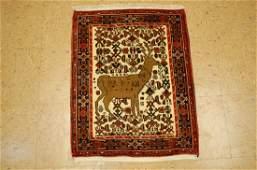 c1930s ANTIQUE DETAILED DEER SUBJECT FINE Persian BIJAR