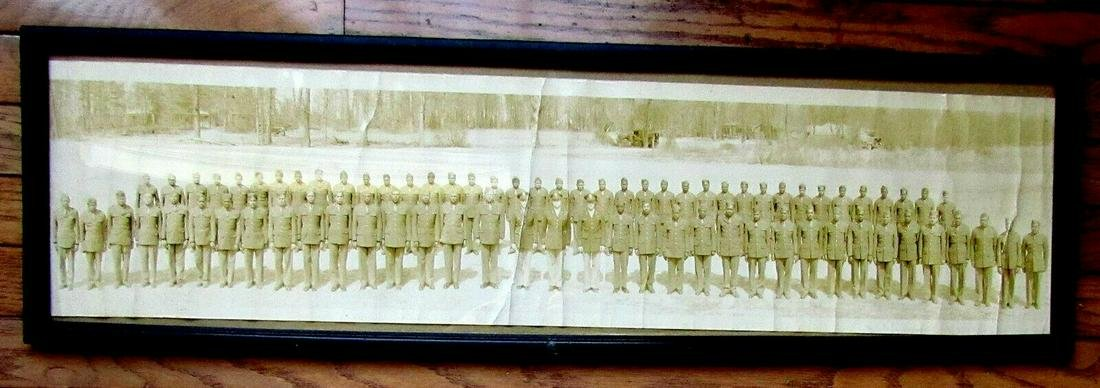 LARGE WWII ERA PANORAMIC MILITARY GROUP PHOTO BLACK