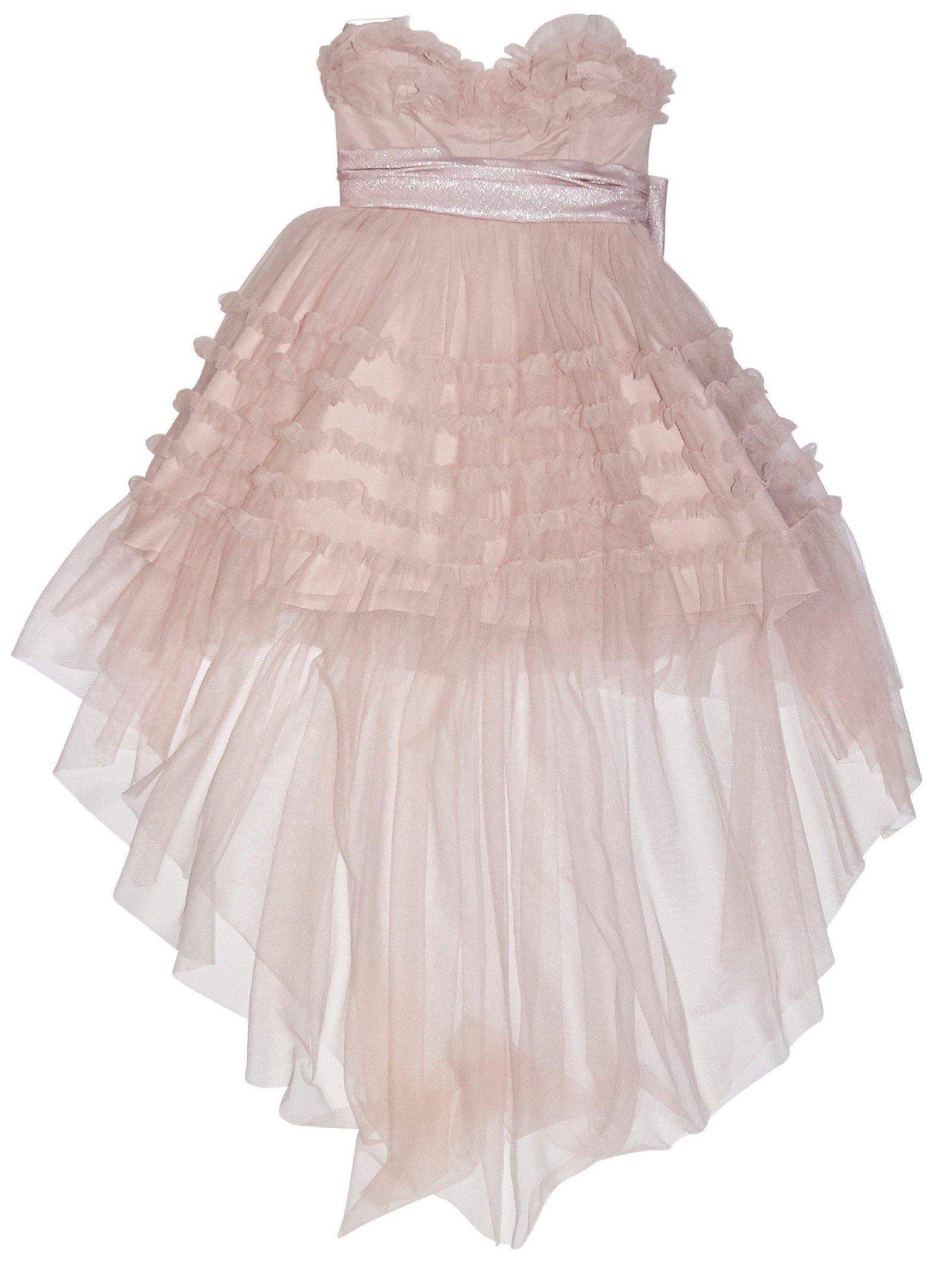 Pink Saint Laurent Ruffled Tulle Strapless 2015 Runway