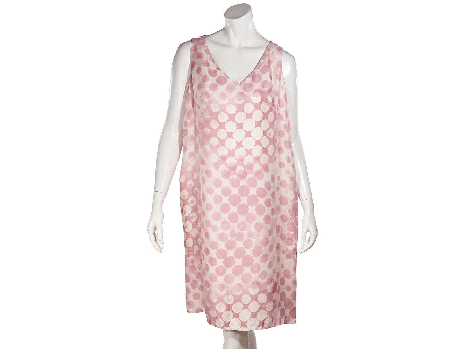 Pink & Cream Escada Polka-Dot Shift Dress