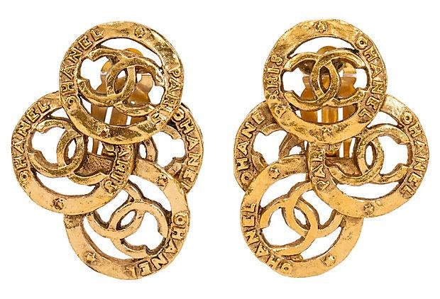 Chanel Multi-Logo Clip Earrings