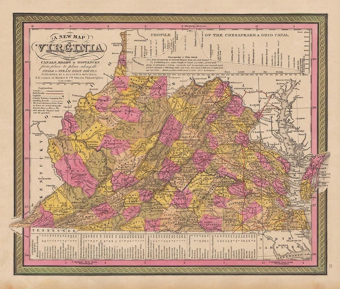 1848 Mitchell map of Virginia