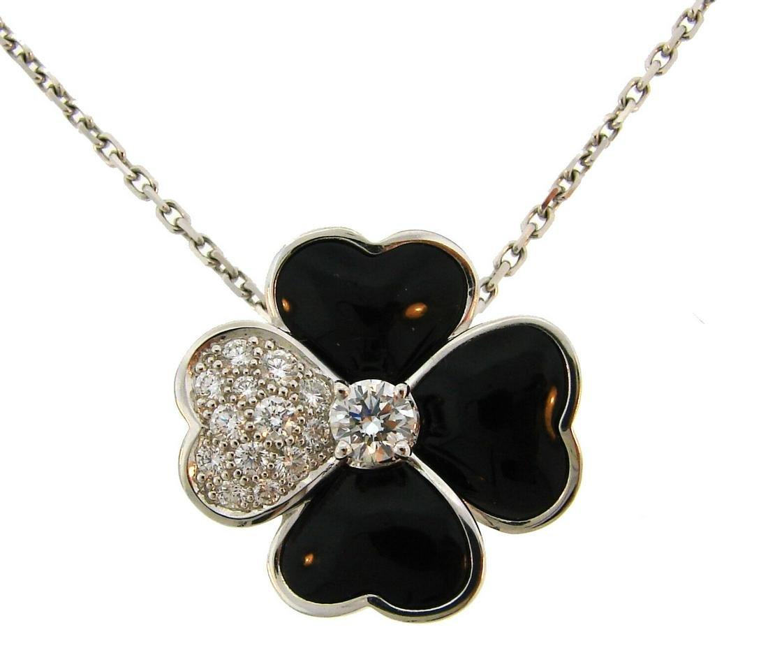 Van Cleef & Arpels Cosmos Onyx Diamante Colgante Collar