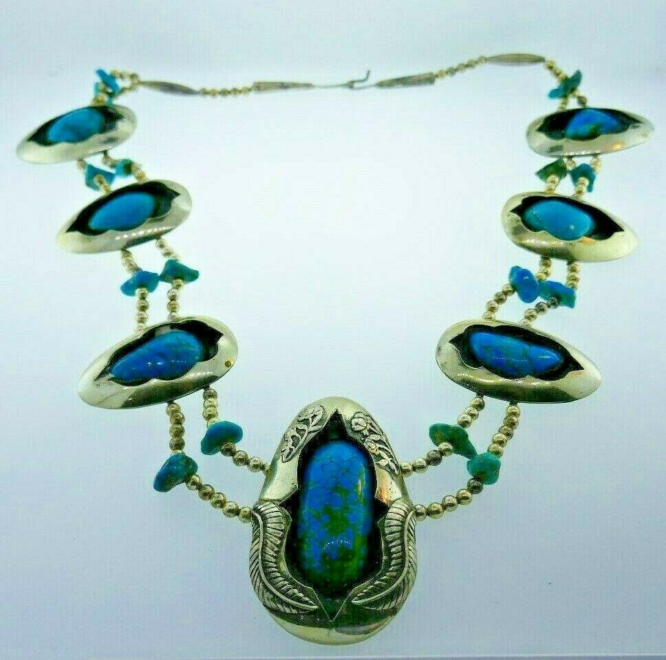 VINTAGE Silver & Turquoise Squash Blossom Necklace