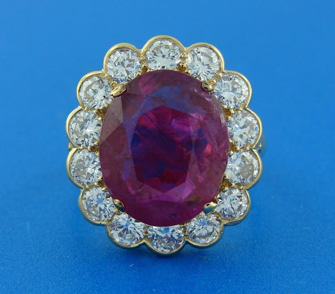 Elegant 6.32-ct RUBY 2.10 cts DIAMOND 18k YELLOW GOLD