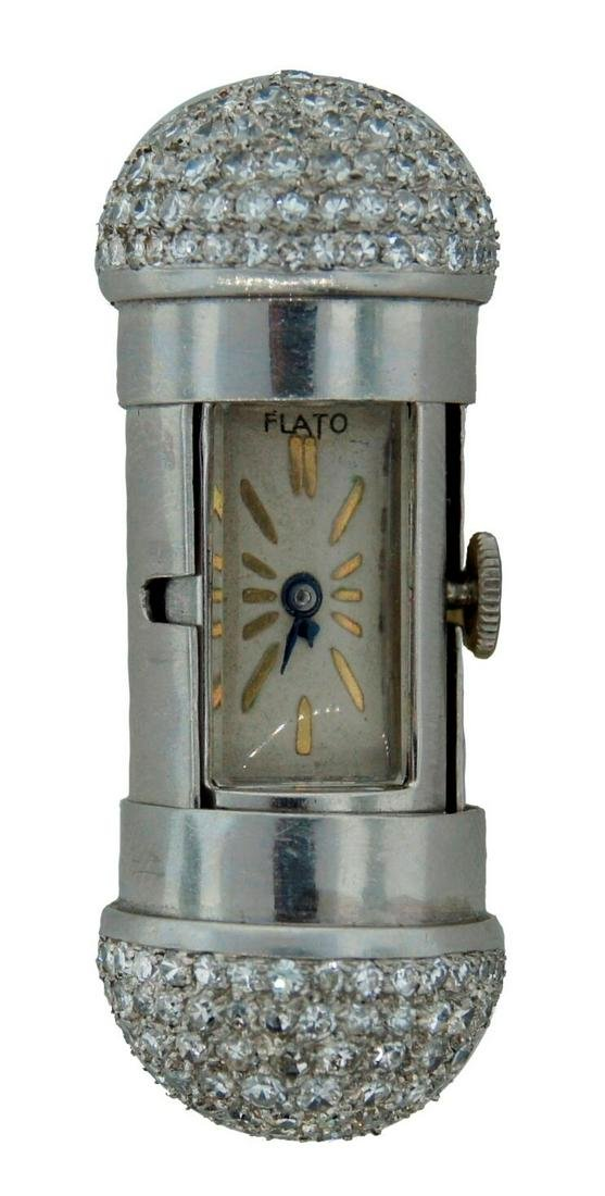 Art Deco c.1930s 5 cts DIAMOND PLATINUM TRAVEL CLOCK