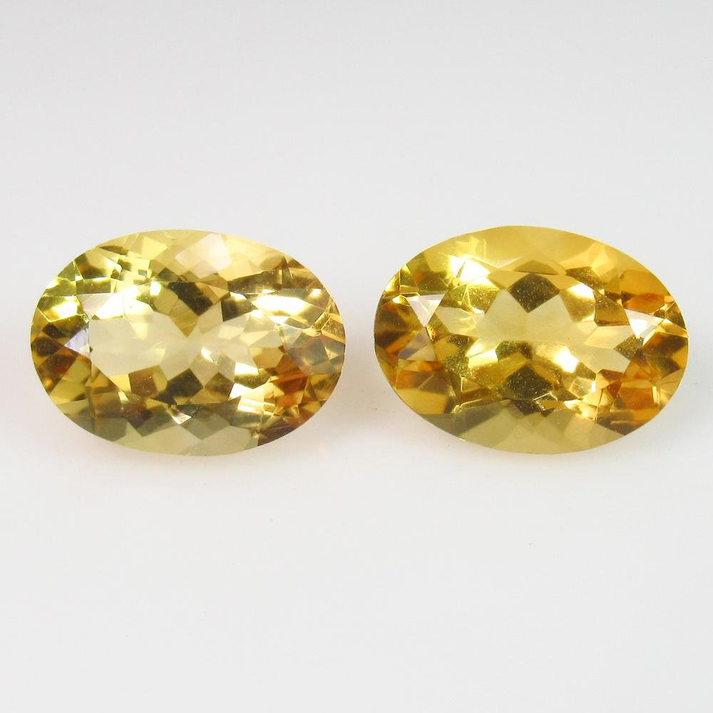 6.89 Ct Genuine Whisky Yellow Citrine Oval Pair