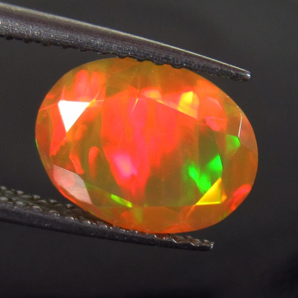 1.82 Ctw Natural Multi-Color Fire Faceted Opal Oval Cut