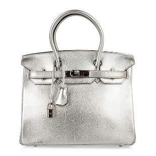 Hermes Birkin 30 Bag Silver Metallic Chevre Palladium