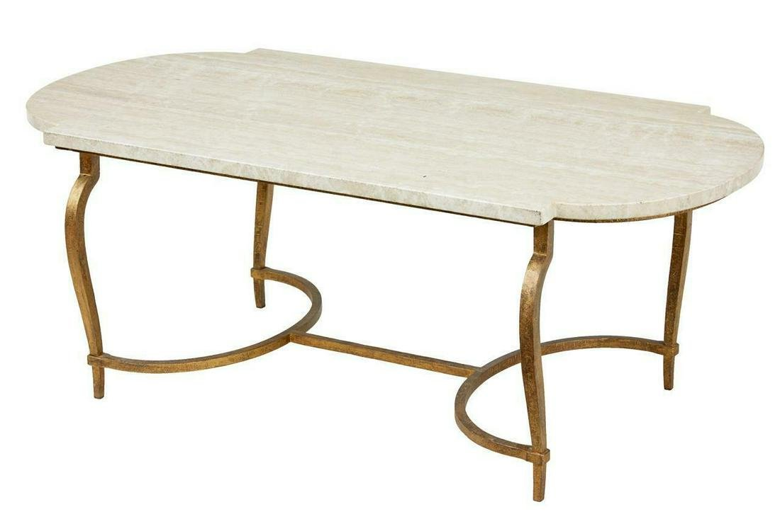 1960's STEEL AND MARBLE COFFEE TABLE