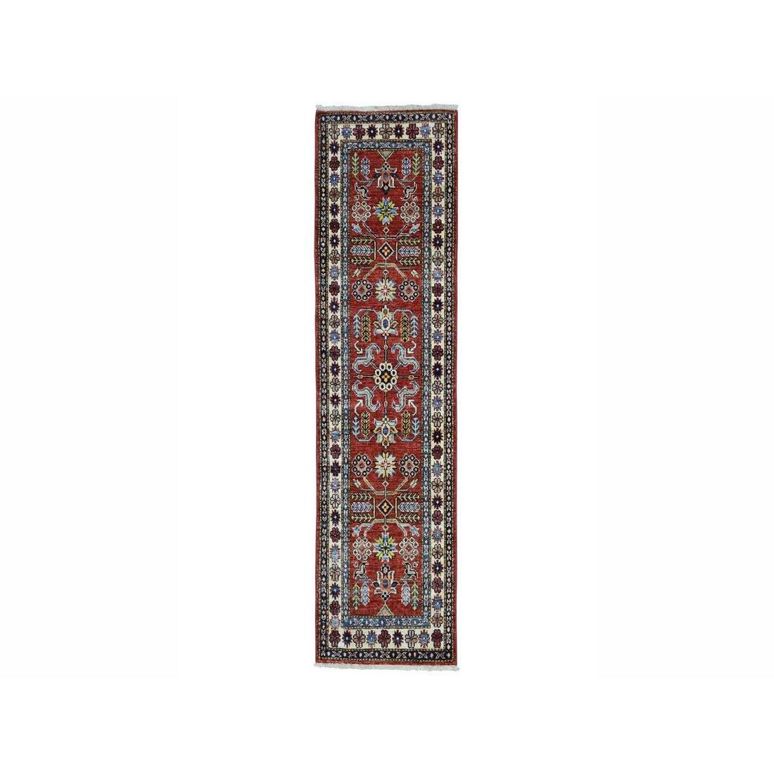 Super Kazak Red Geometric Design Pure Wool Hand-Knotted