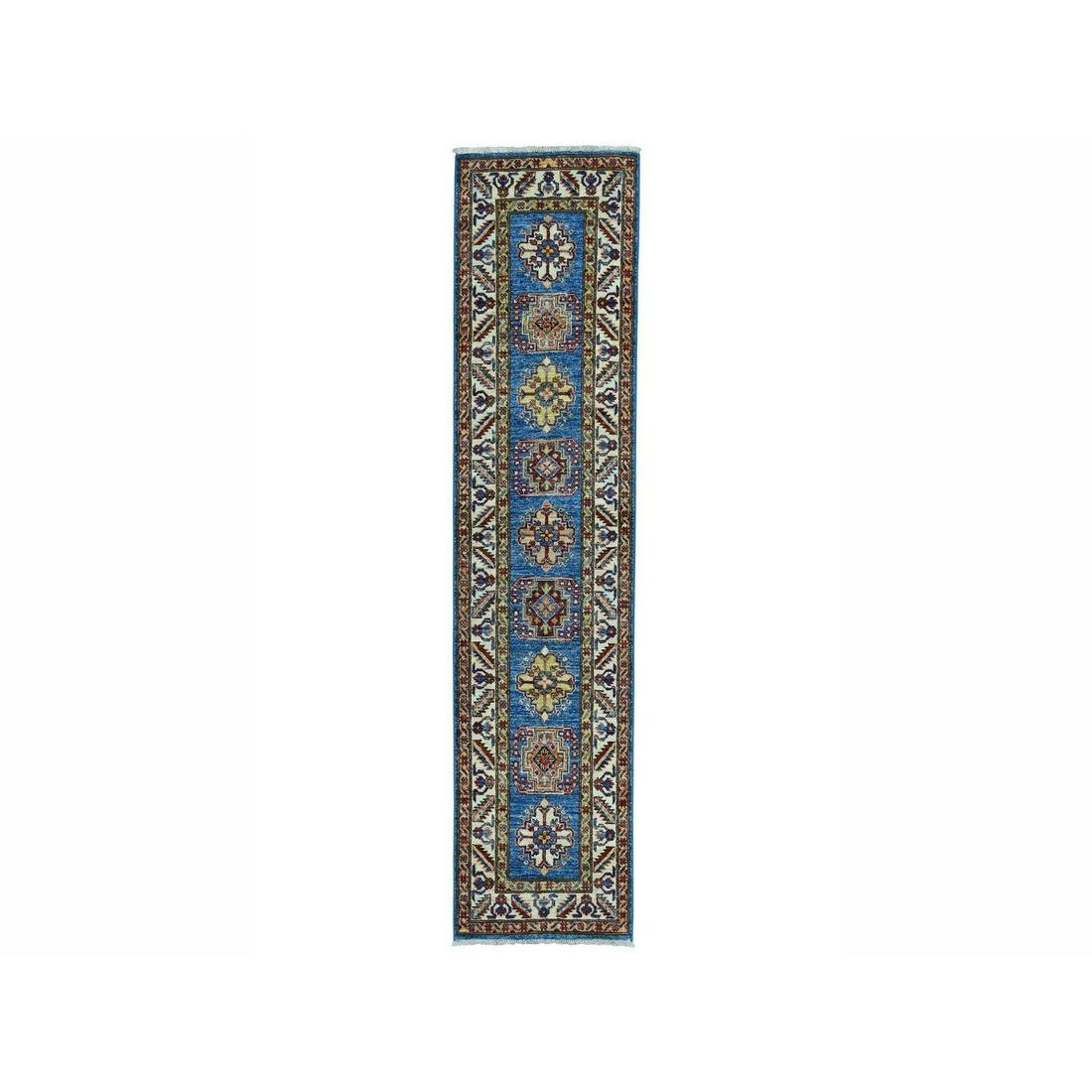 Super Kazak Blue Geometric Design Hand-Knotted Runner