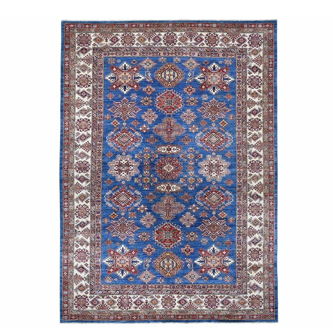 Blue Super Kazak Pure Wool Geometric Design