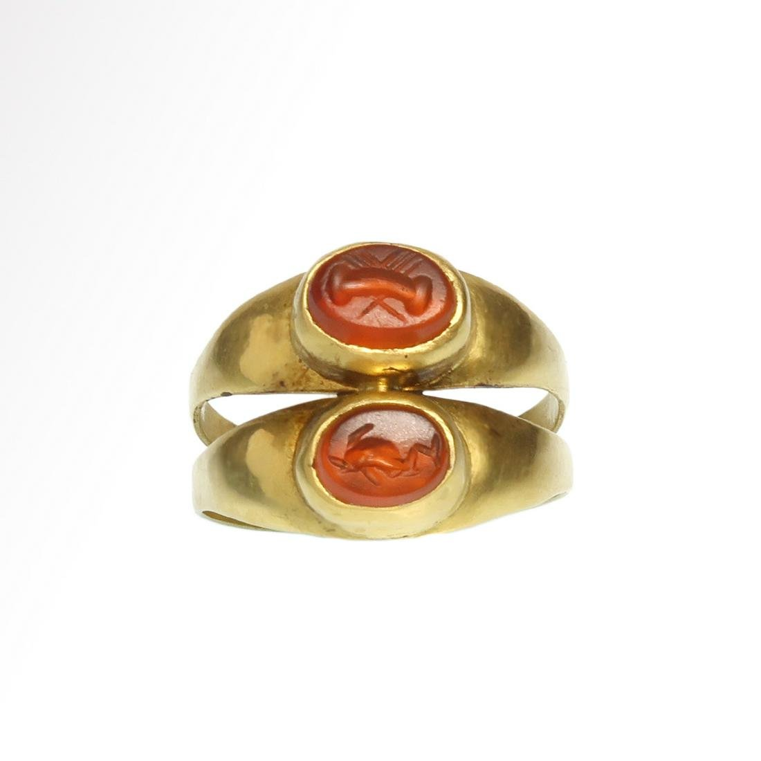 Roman Double Ring with Cornelian Intaglios of a Dolphin