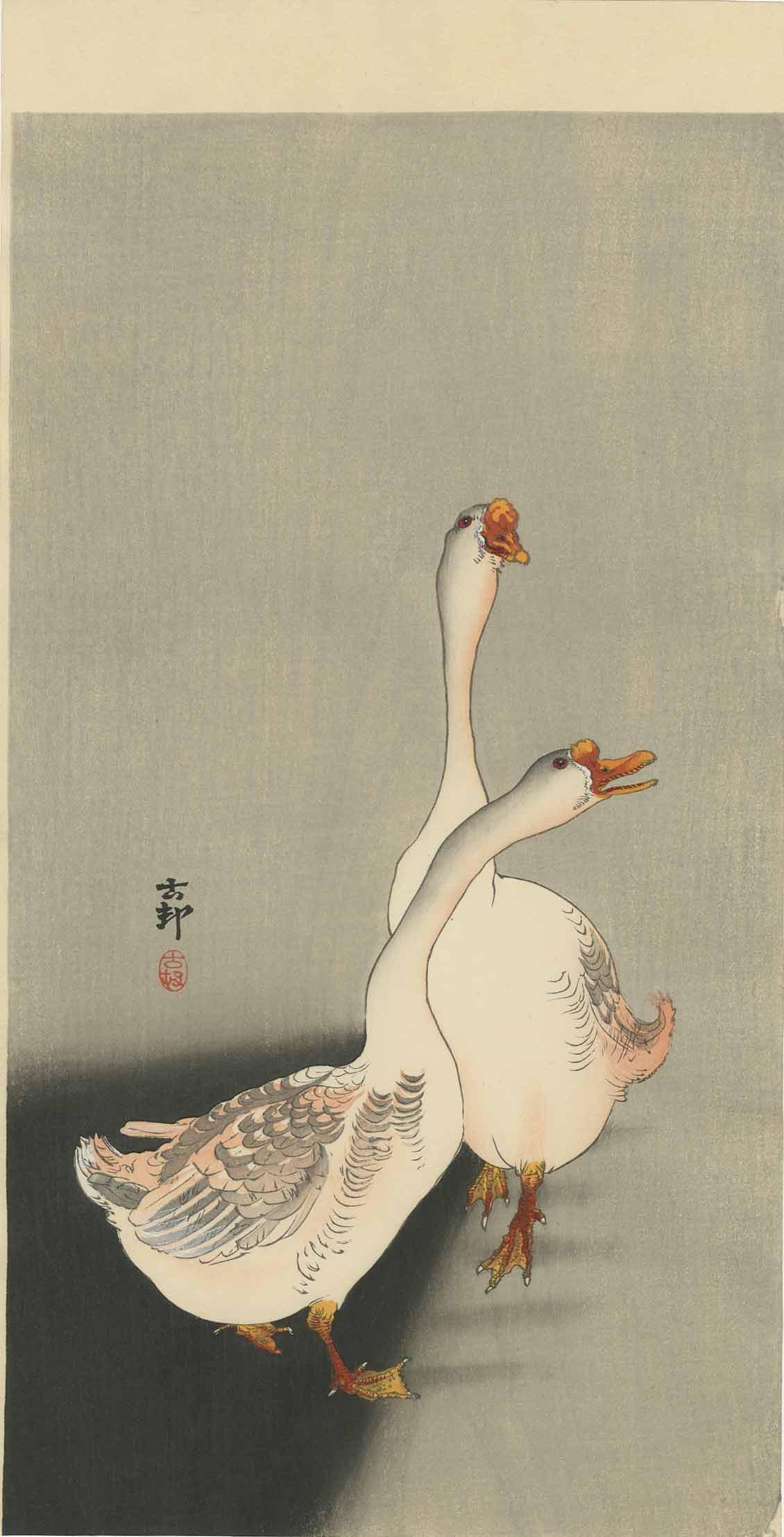 Koson Ohara: Domestic Geese 1920s Woodblock