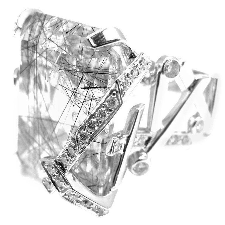 Authentic! Chanel 18k White Gold Large Rutilated Quartz