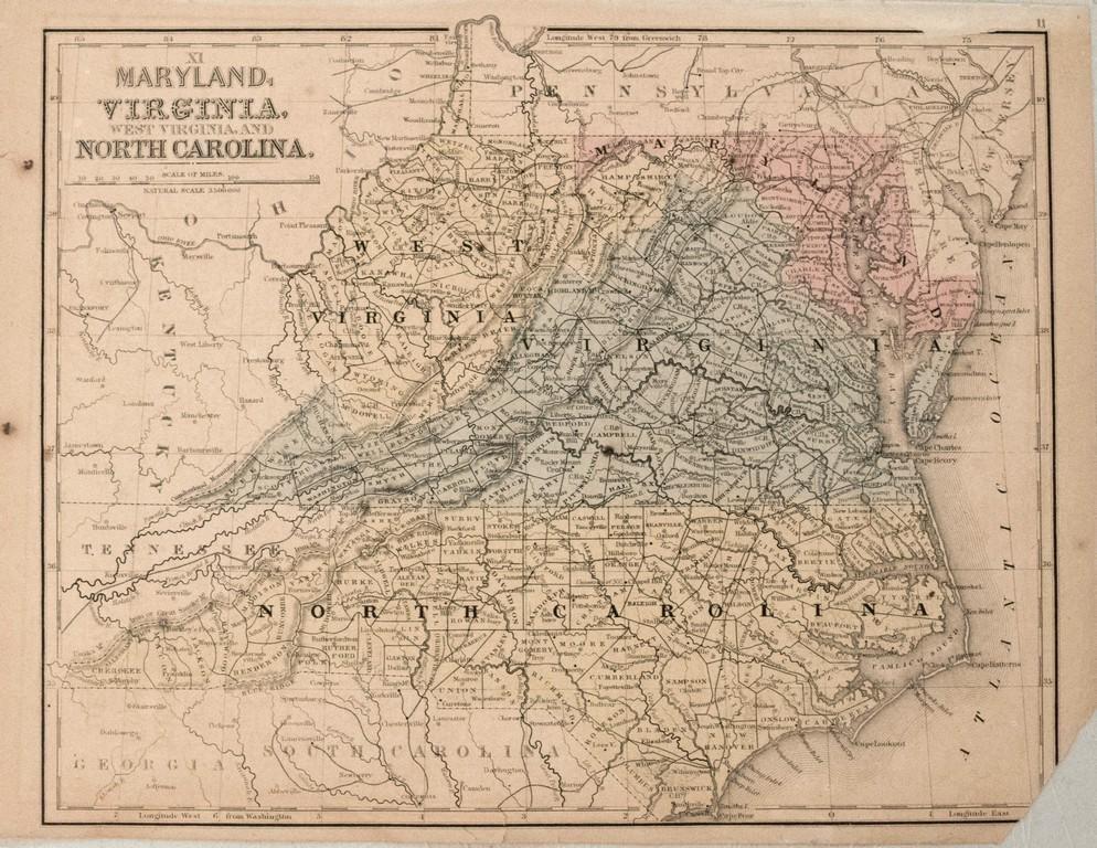 1871 Mitchell Map of Maryland, Virginia, West Virginia