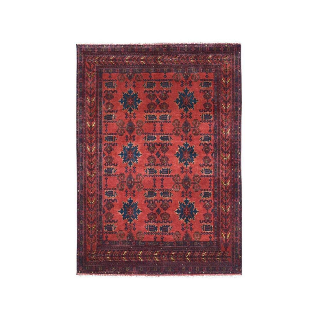 Red Geometric Design Afghan Andkhoy Pure Wool