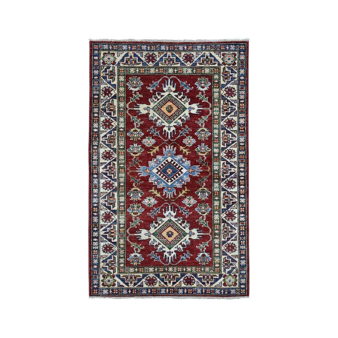 Red Super Kazak Pure Wool Geometric Design Hand-Knotted