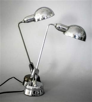 Pair of French modernist Jumo desk lamp attributed to
