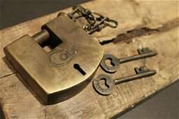 Brass Colt Firearms Ammo Box Padlock Lock & key