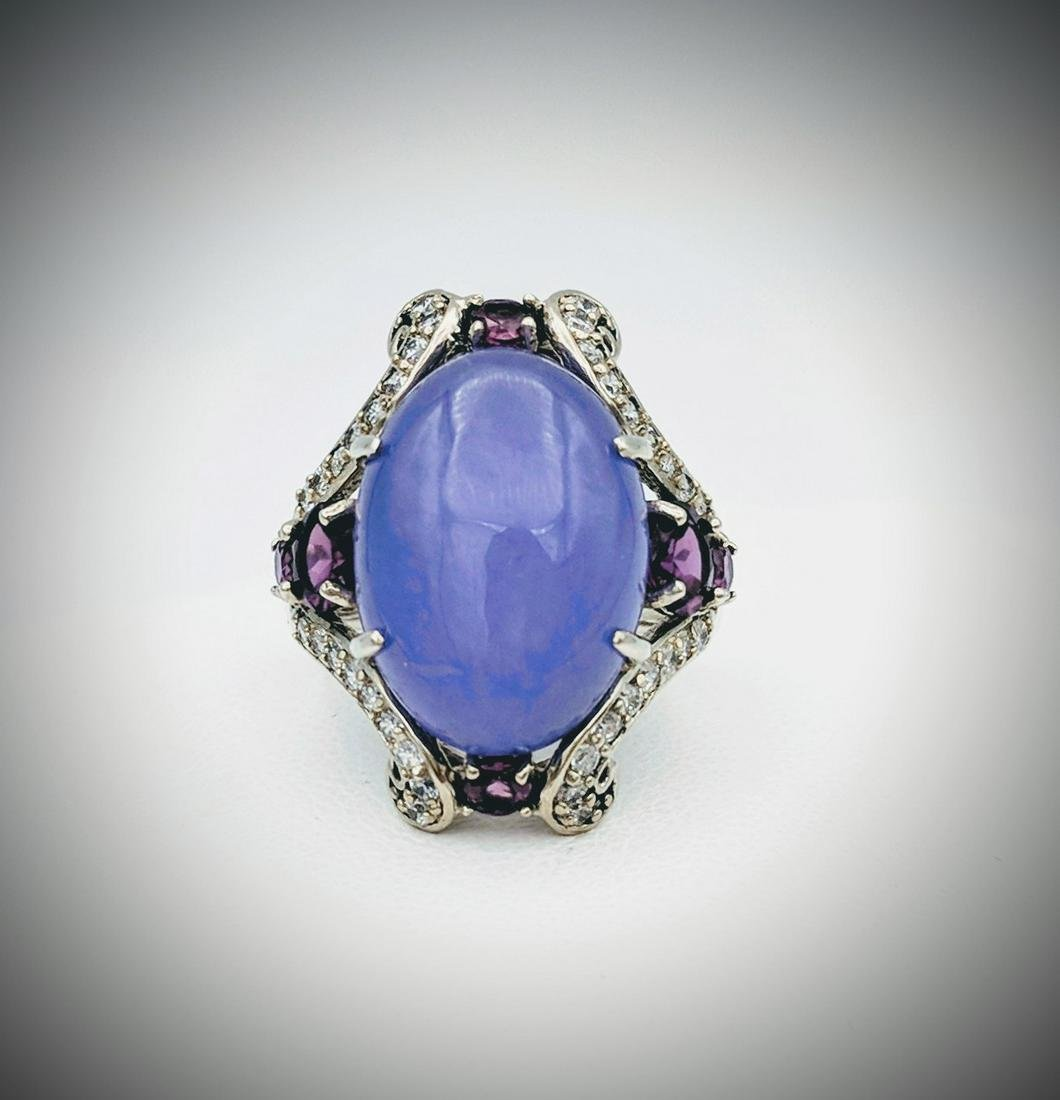 925 SS Oval Cut Violet Jade Cocktail Ring w Amethyst &