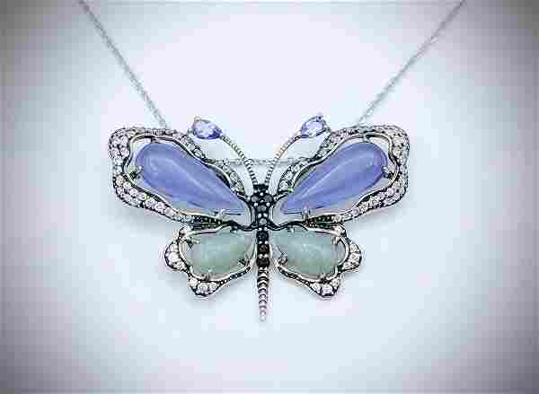 Necklace & Butterfly Pendant w Jade, Violet Jade,