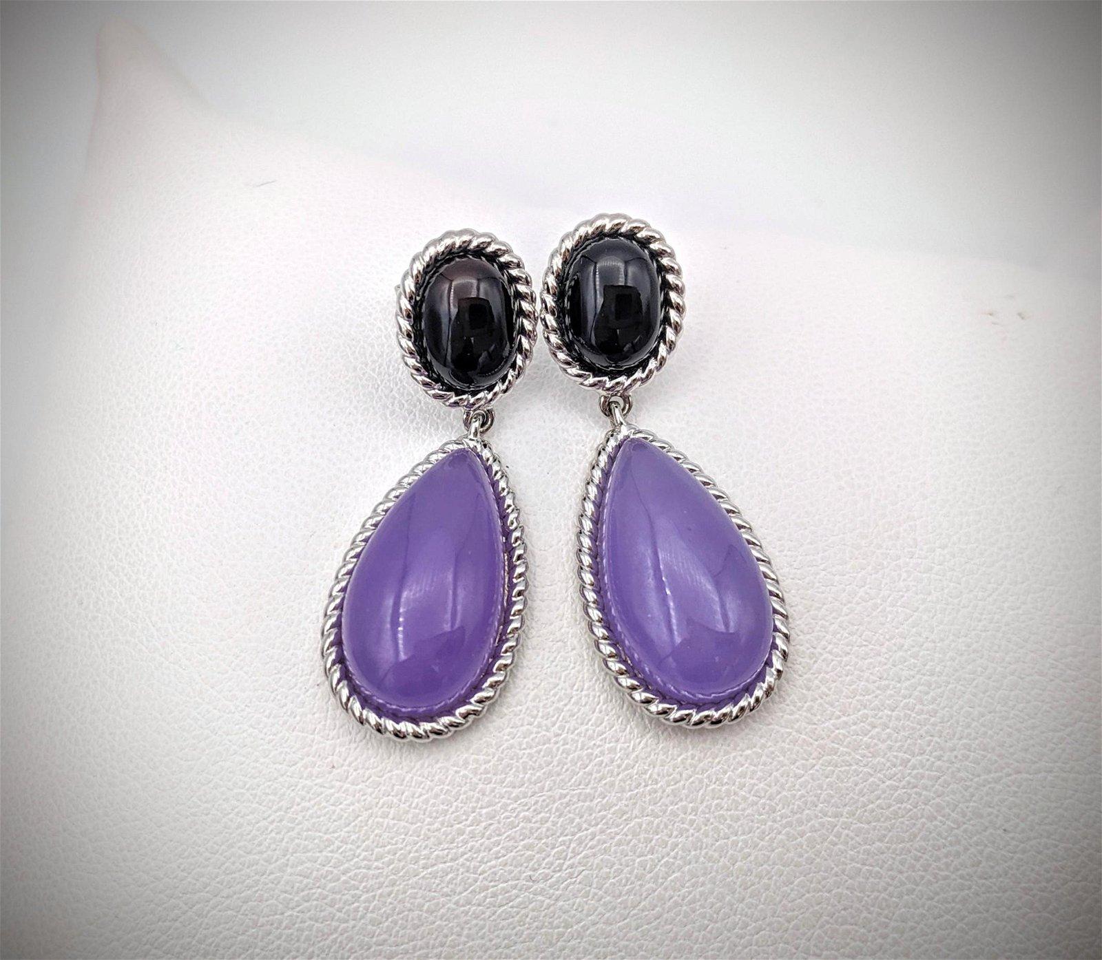 Sterling Silver Black Onyx & Violet Jade Drop Earrings
