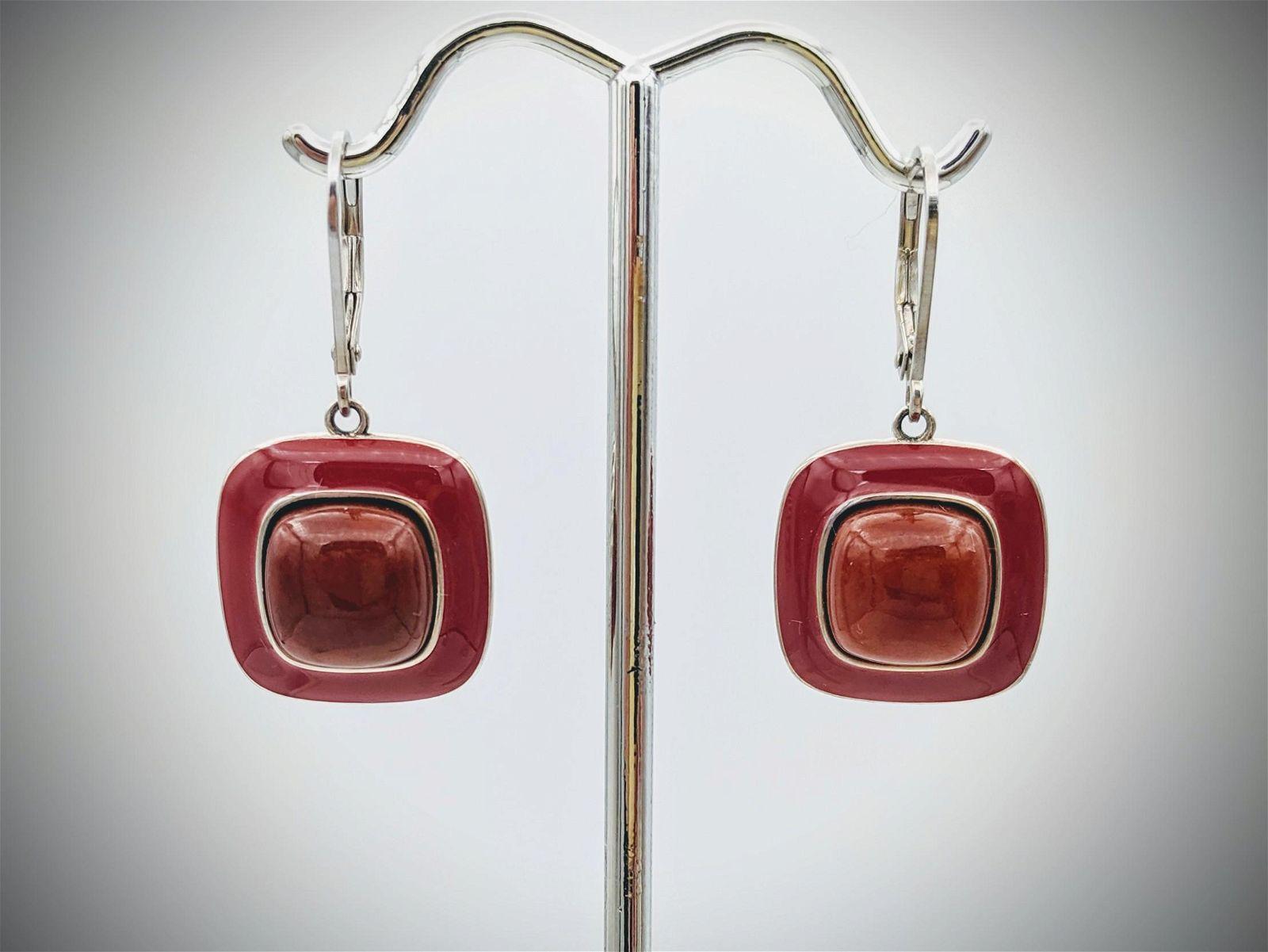 Sterling Silver Jasper Earrings w Red Enamaling