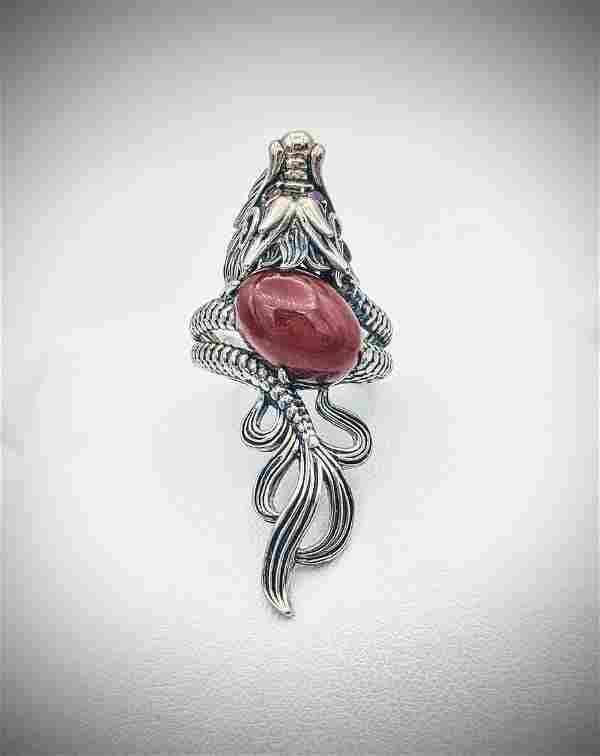 Sterling Silver Sz 7 Dragon Ring w Jasper & Rubies