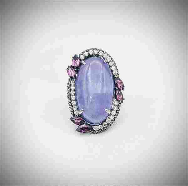 Sterling Silver Sz 7 Violet Jade Cocktail Ring w