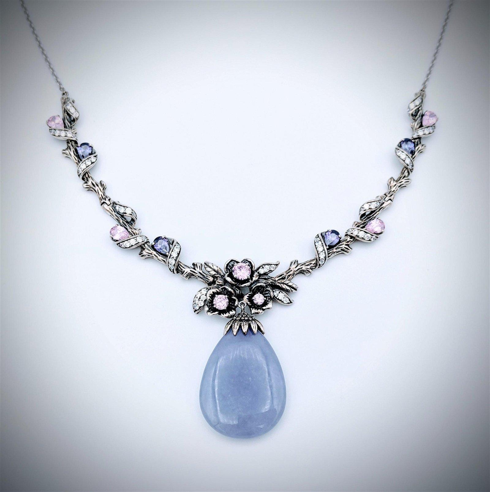 Violet Jade Winged Necklace w Amethyst, Pink Amethyst &