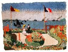 Handmade vintage American hooked rug 2' x 2.9' ( 61cm x