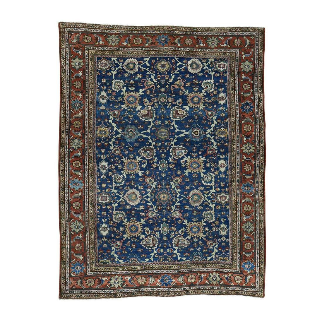 Hand-Knotted Vintage Persian Mahal Even Wear Exc Cond