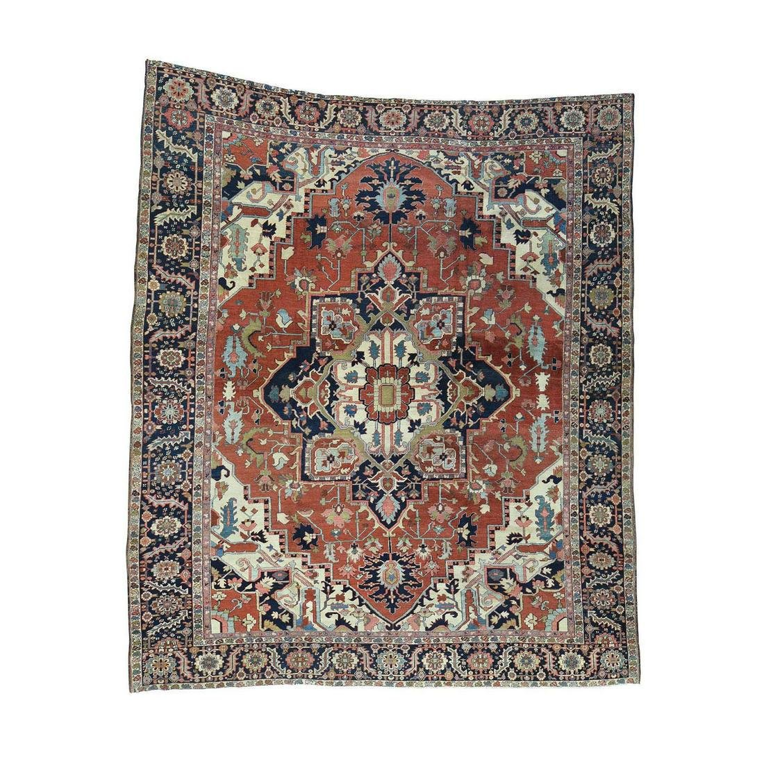 Hand-Knotted Antique Persian Serapi Squarish Good Cond
