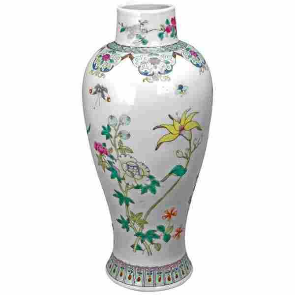 Chinese Polychrome Porcelain Baluster Vase Republic