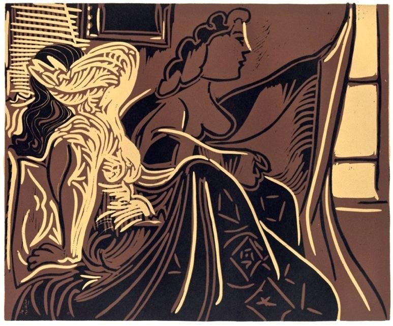 """Pablo Picasso linocut """"Two Women at the Window"""""""