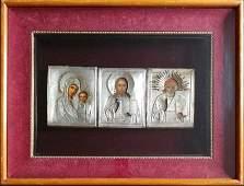 Antique 19c 84 Silver Icons of Desis